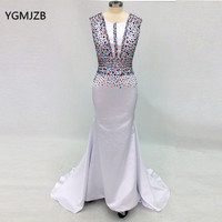 Elegant Long Evening Dress 2018 Mermaid Beading Crystal Floor Length Muslim Arabic White Women Formal Prom Dress Evening Gowns