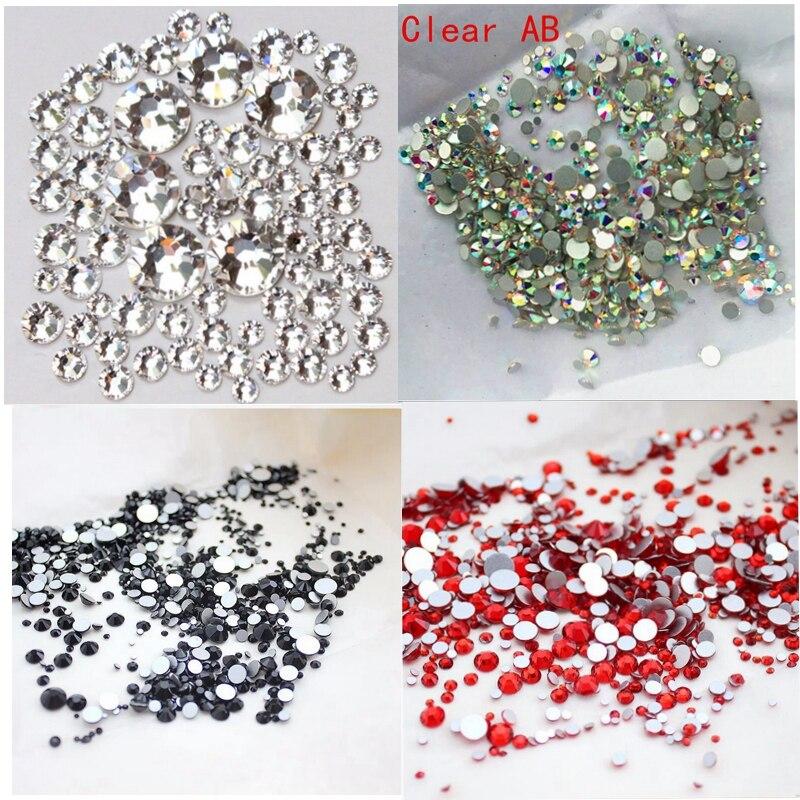 1 / balení Mix velikosti 6 barev volitelně Crystal Clear AB bez - Manikúra