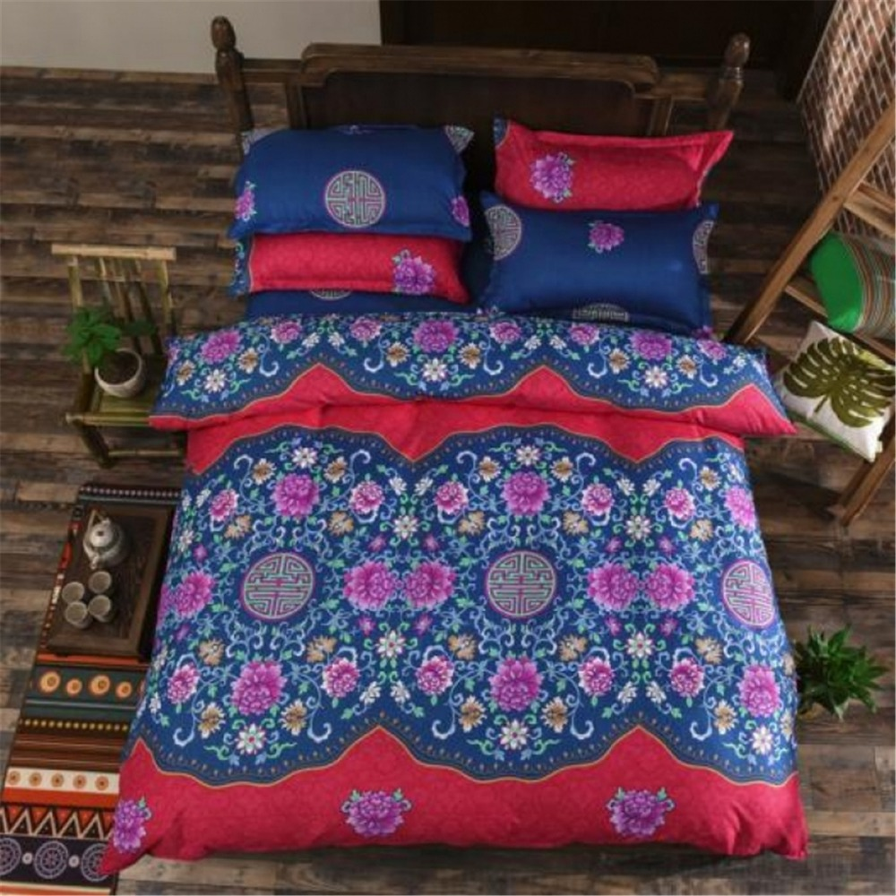 FUYA Bohemian Style Bedding Twin Full Queen Size Home Textile Fabric Polyester 3/4-Piece Duvet Cover Sets, 3D Bohemia Bedding