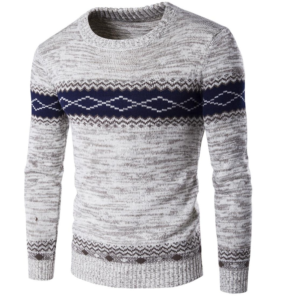 New Men's Brand Sweater Jumper Tri-color Stitching Spell-fitting High-quality Men's Sweater M-XXL