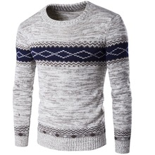 New men's brand sweater jumper tri-color stitching Spell-fitting high-quality men's sweater M-XXL цена
