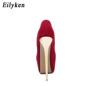Image 3 - Eilyken Sexy Pumps Wedding Women Fetish Shoes Concise Woman Pumps Latform Very High Heel Stripper Flock Pumps 16 cm size 34 45