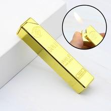 Luxury 999 Gold Brick Lighter Compact Jet Gas Torch Inflated Butane Bullion Oil Metal Grinding Wheel Cigar