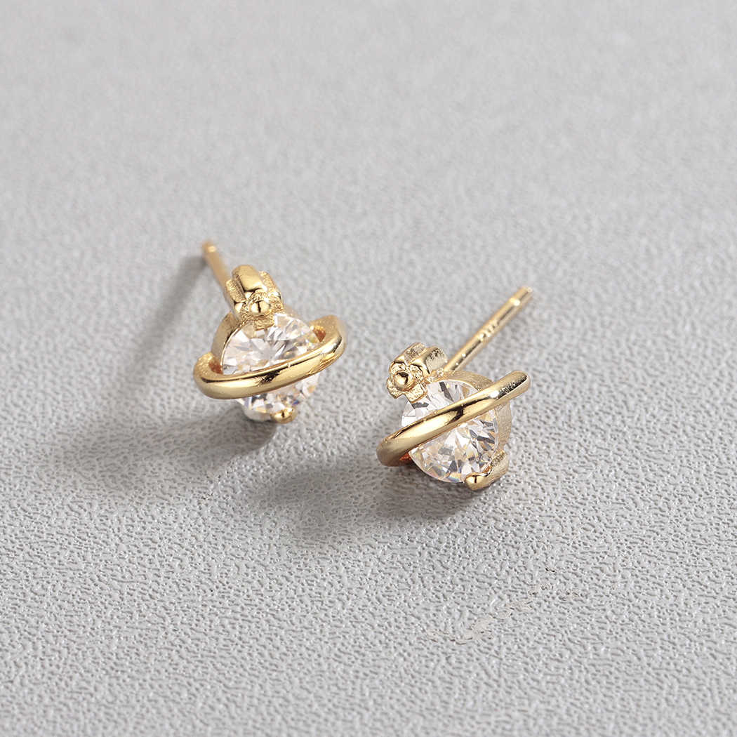 Cxwind Classic Cute Gold Saturn with Rhinestone Stud Earrings Charms women Girl Fashion Statement Space Planet Earring Jewelry
