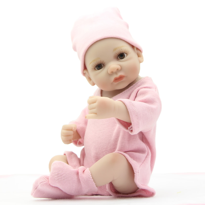 Collectible 25cm/10 Inch Real life Reborns Girl Full Body Silicone Realistic Baby Dolls for Children Christmas Gift
