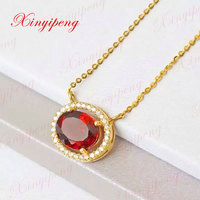 18 k gold necklaces natural garnet pendants Fashion contracted joker