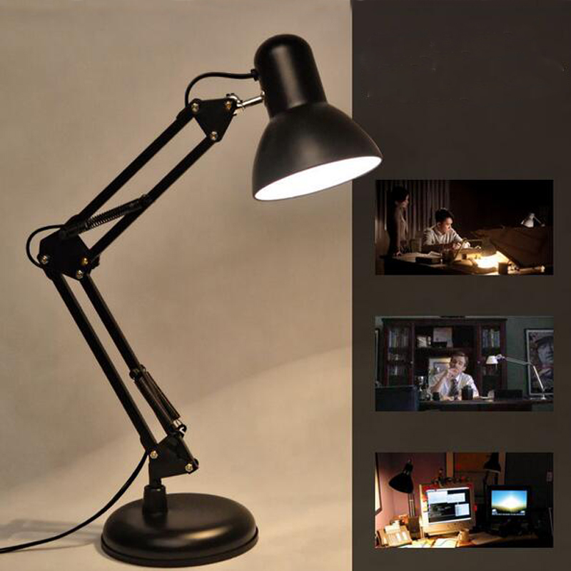 Led Table Lamp Iron Morden American Foldable Long-Arm Desk Lamp Reading Lamp E27 110V 220V Clip Office Lamp For Study morden foldable aluminum led table lamp book reading light e27 bulb lamps for office bedroom study reading
