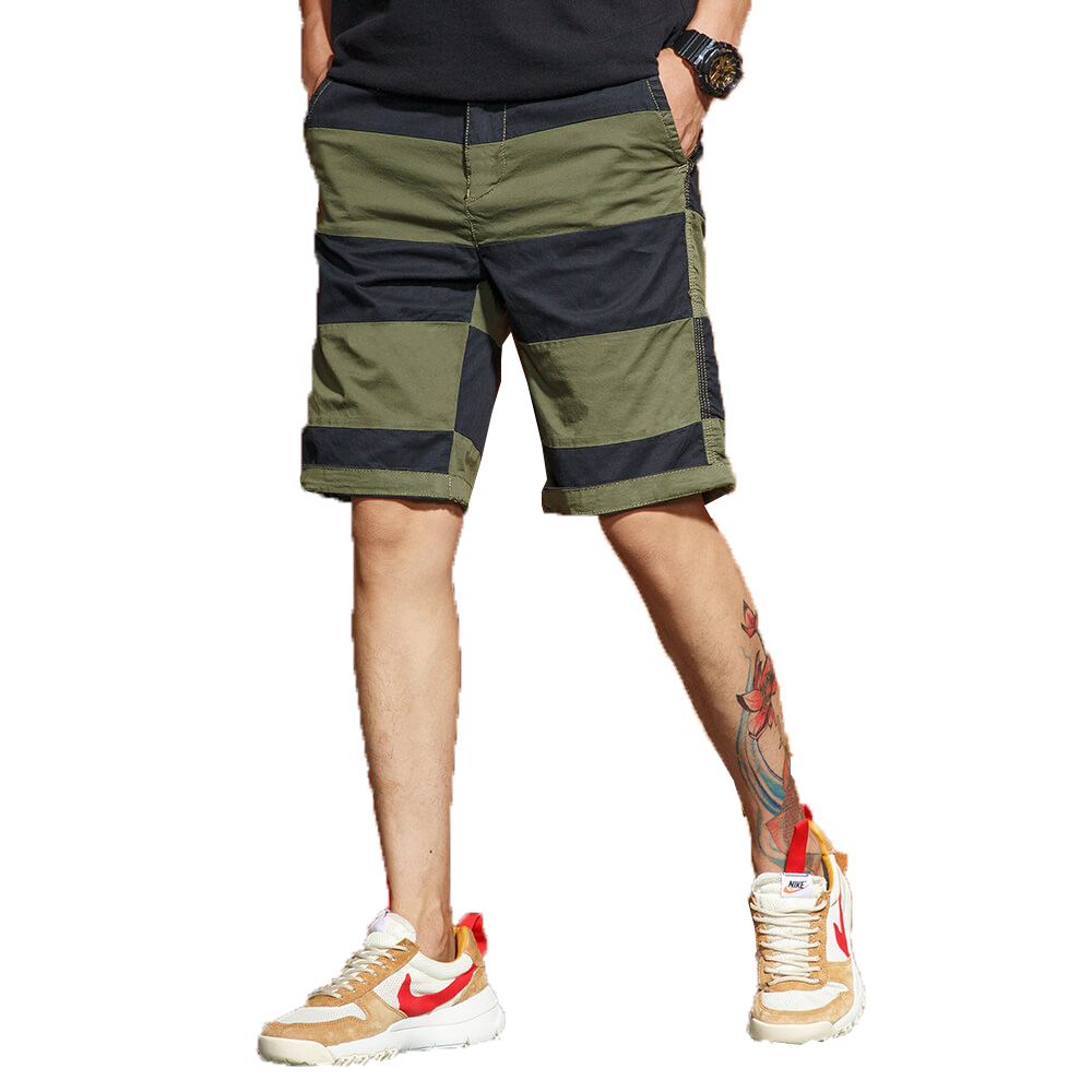 2018 Summer Striped Shorts Men Cotton Sim Fit Knee length High Quality Mens Cargo Short Pants Jogger Bermuda Boardshorts 28 38