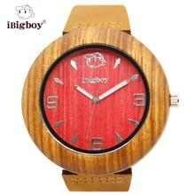 IBigboy Fábrica De Madera Mens Zebrawood Redwood Classic 12 horas Analógico de Pulsera de Cuarzo de Cuero Relojes de Regalo de Cuero Genuino