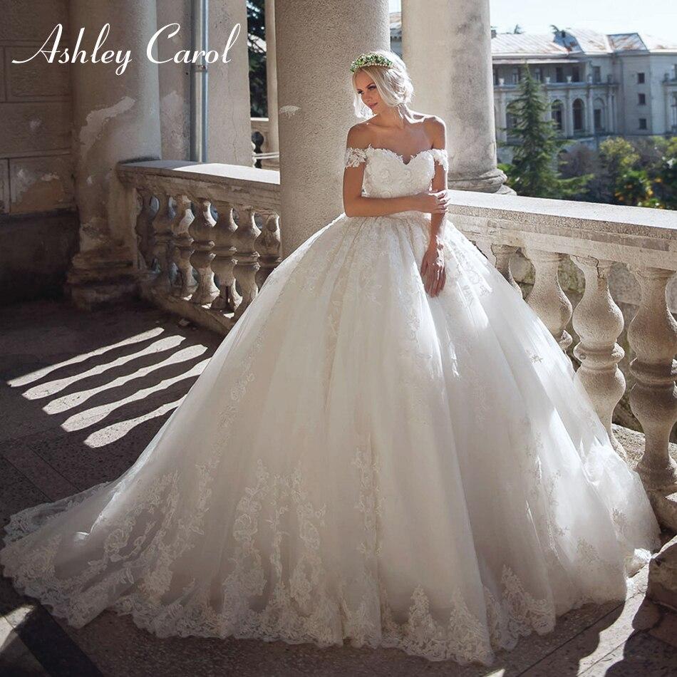Ashley Carol Sexy Sweetheart Luxury Beaded Ball Gown Wedding Dress 2019 Elegant Cap Sleeve Bride Dresses Princess Wedding Gowns