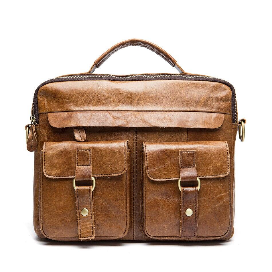 ФОТО 2017 New Brand Solid Genuine Leather Men Travel Bag Casual Laptop Men Shoulder Handbag Business Men Messenger Bags A1592