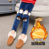 2016 Baby cartoon leggings girl winter warm pants children's clothing plus velvet thickening long trousers baby girl Warm Pants