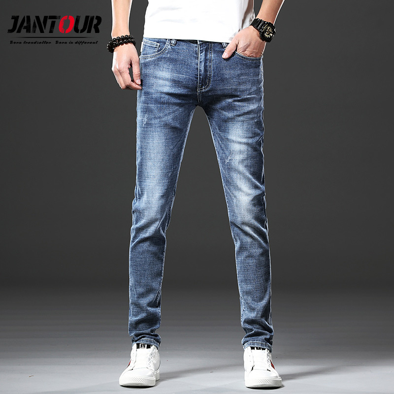 Jeans Beautiful Jantour Brand Skinny Jeans Men Slim Fit Denim Joggers Stretch Male Jean Pencil Pants Blue Mens Jeans Fashion Casual Hombre New