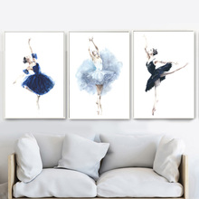 Watercolor Ballet Girl Wall Art Canvas Painting Nordic Posters And Prints Wall Pictures For Living Room Women Bedroom Home Decor стоимость