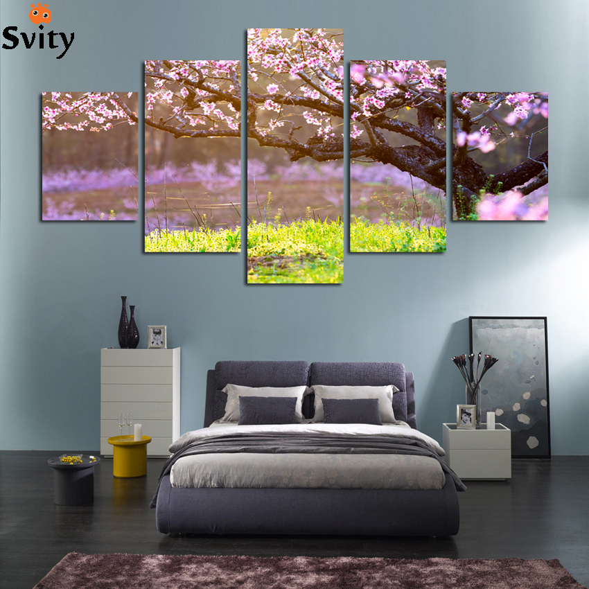 5 panel home decorative mural art canvas painting hd full for Decorative mural painting