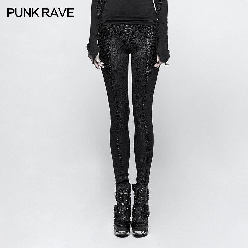 PUNK RAVE Frauen Slim Fit Punk Leggings Schwarz Lace Up Elegante Dünne Hosen Gothic Club Fashion Party Lange Bleistift Hosen