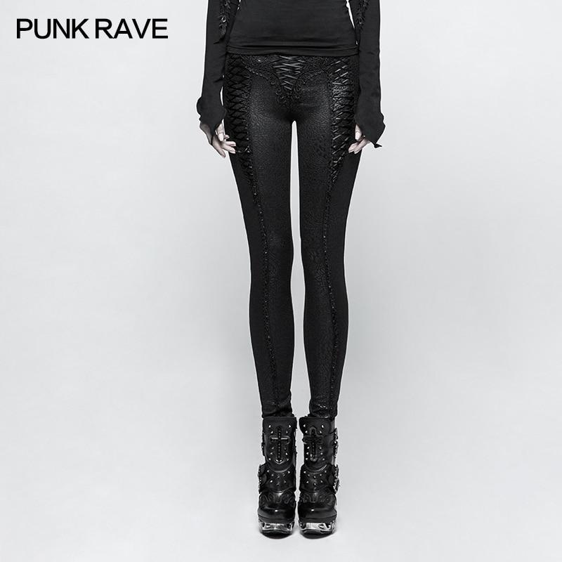PUNK RAVE Vrouwen Slim Fit Punk Leggings Black Lace Up Elegante Skinny Broek Gothic Club Fashion Party Lange Potlood Broek