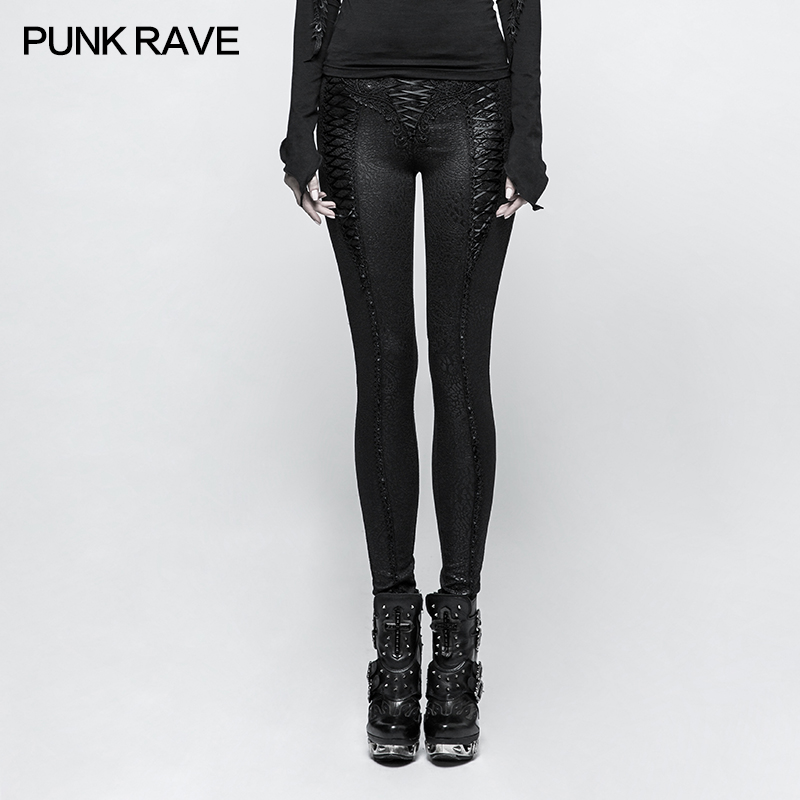 PUNK RAVE mujeres Slim Fit Punk Leggings negro encaje hasta pantalones ajustados elegantes gótico Club moda fiesta largo lápiz Pantalones