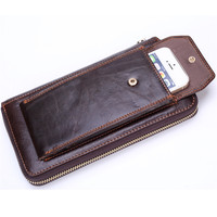 Genuine Leather Wallets Coffee Card Holder Purse Male Zipper Men Clutch Bags Multifunctional Mobile Phone Bag