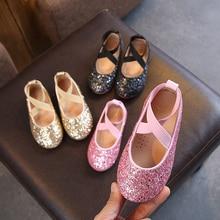 Summer Girls Ballet Flats Baby Dance Party Girl Shoes Glitter Children Gold Bling Princess 3-12 years Kids P25