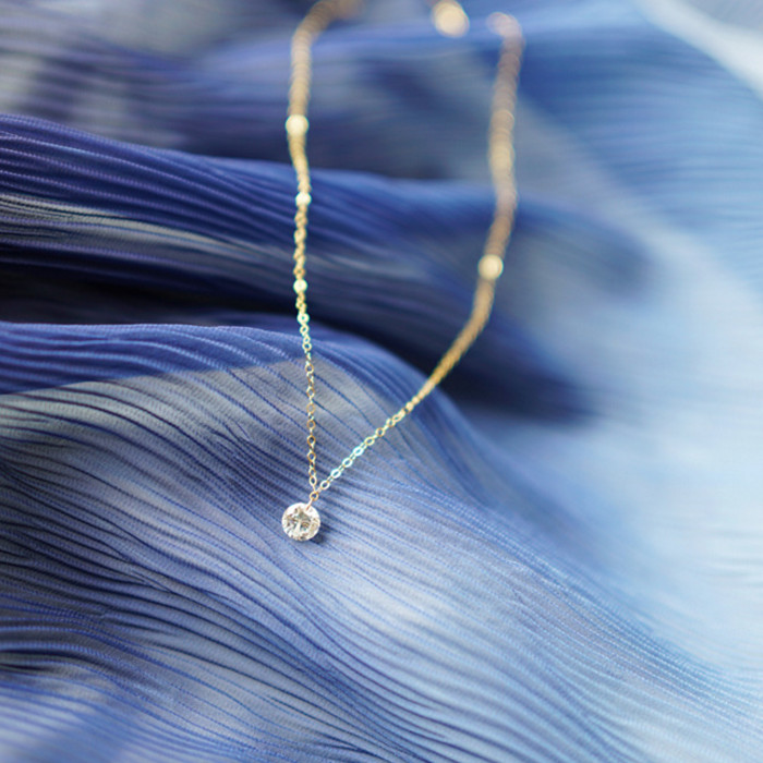 Pinjeas Gold Fillied Natural Delicate Zircon Necklace Minimalist