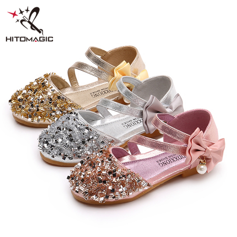 HITOMAGIC Girls Sandals Summer Kids Princess Shoes For Girls Children 2018  For Party And Wedding Bow Baby Sandals Leather Pink -in Sandals from Mother  ... ed55a694be77