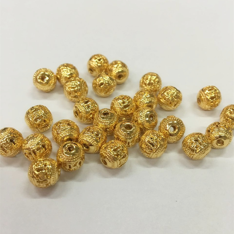 1Lot Hot Round Gold Color Spacer <font><b>Connector</b></font> Beads Fit for Bracelet Necklace DIY Jewelry Making image