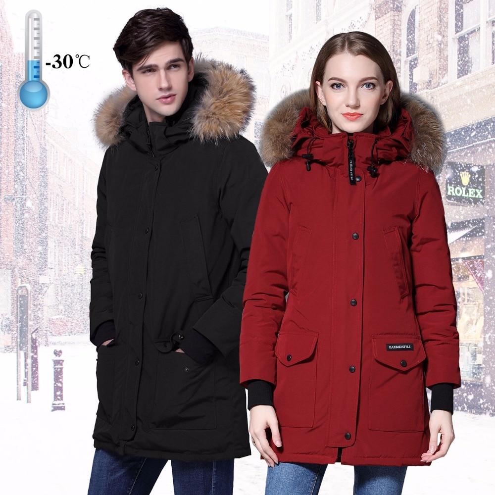 Lovers Winter White Duck   Down   Jacket Brand Thicken   Coat   Parka Medium Length Raccoon Fur Women Quality   Down     Coat