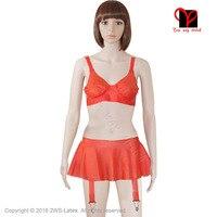 Sexy Latex bra Rubber Garters underwear panty suspender Belt girdle Skirt straps bralette bikini lingerie red plus size NY 002
