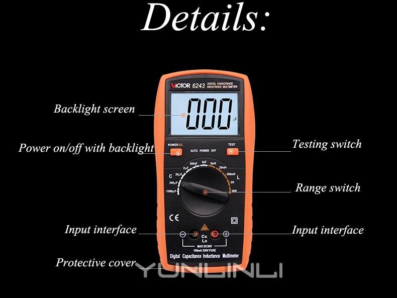 Backlight Display Digital Instrumento de Teste de Medidor de Indutância VC6243