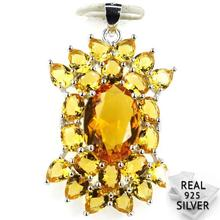 Guaranteed Real 925 Solid Sterling Silver 5.4g Deluxe Golden Citrine White CZ Wedding Ladies Pendant 39x23mm
