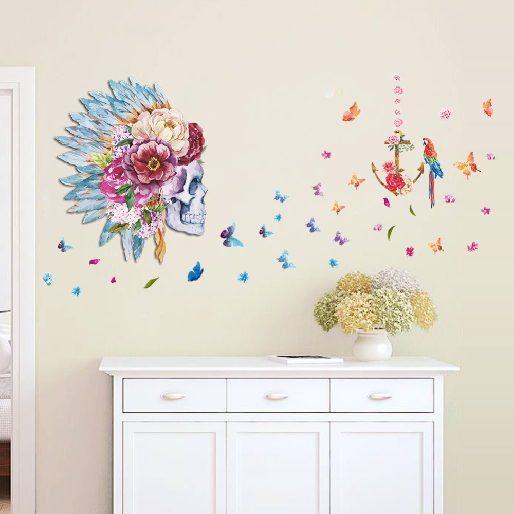 Beautiful Butterfly Skull Flower And Parrot Birds Backdrop Home Decor Living Room Wall Art Decal Home