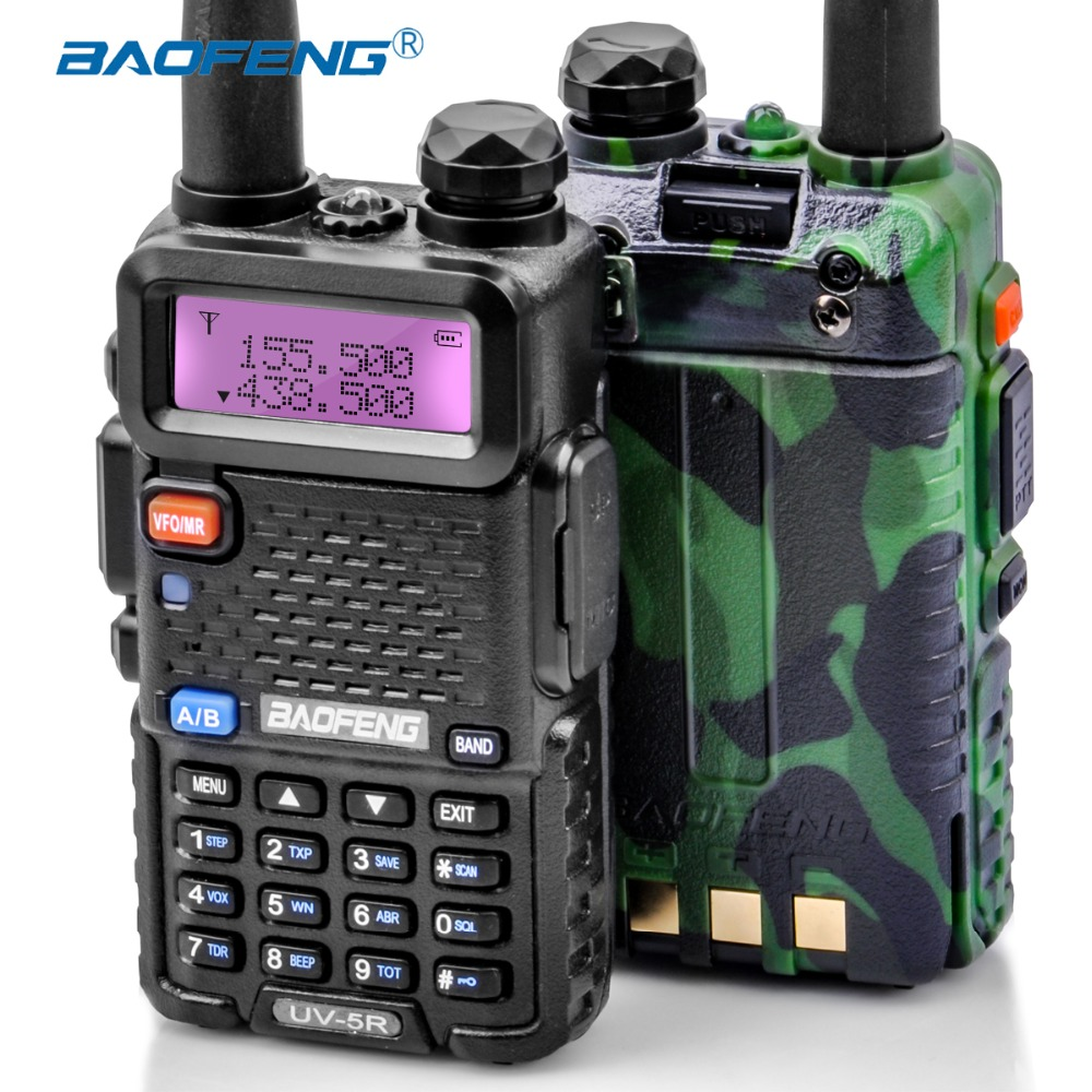 2 Pcs Baofeng UV-5R Walkie Talkie UV5R CB Stazione Radio 5 W 128CH VHF UHF Dual Band UV 5R Due way Radio per la Caccia Ham Radio