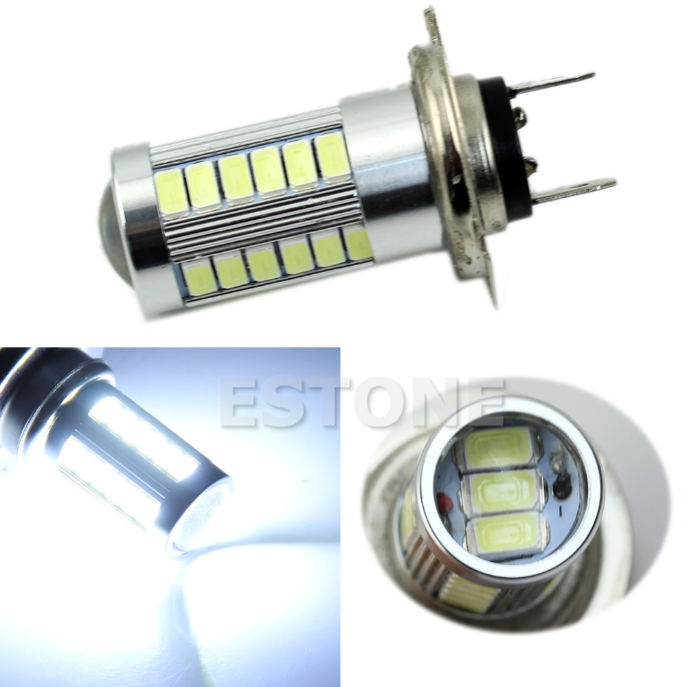 H7 5630 SMD 33 LED 12V High Bright White Auto Car Fog Driving Light Lamp Bulb h1 super bright white high power 10 smd 5630 auto led car fog signal turn light driving drl bulb lamp 12v