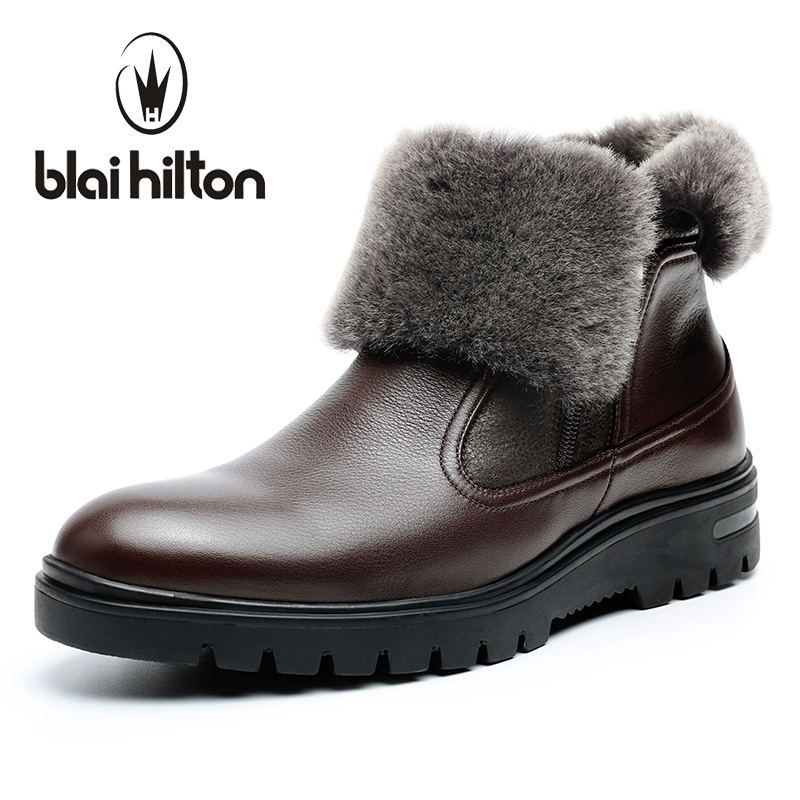 Blaibilton winter 100% Genuine Leather Cow Sheepskin Wool-One Patchwork Snow Boots Men Shoes Side Zip Warm Fur Mens Ankle Boot blaibilton new autumn winter 100% genuine leather cow sheepskin wool one patchwork snow boots men shoes warm fur mens ankle boot