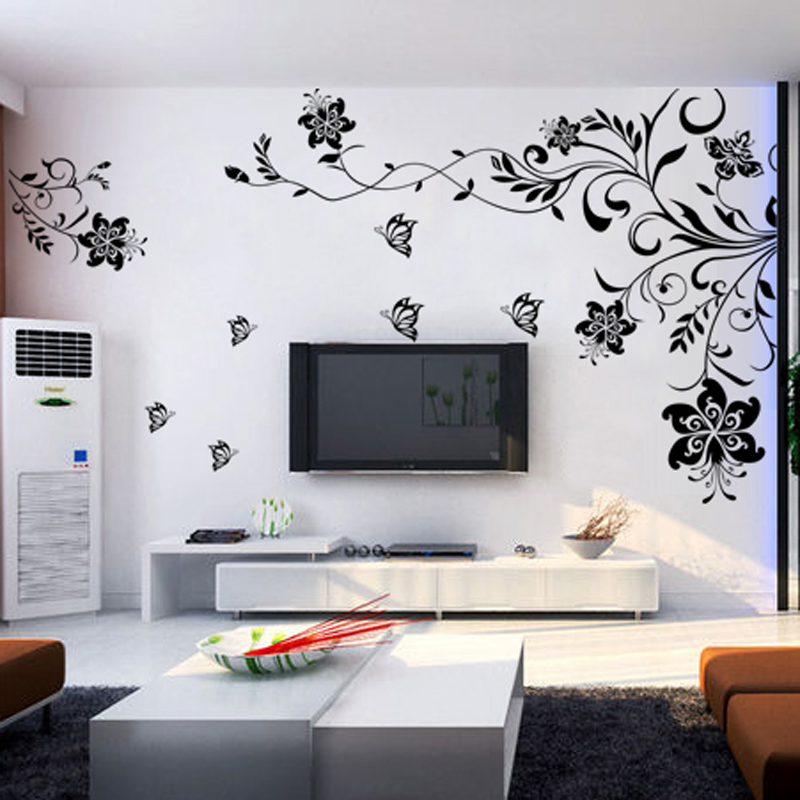 Living Room Tv Wall Stickers Romantic Bedside Wall Painting Wall Stickers  Wall Stickers Dancing Flower In Wall Stickers From Home U0026 Garden On  Aliexpress.com ...