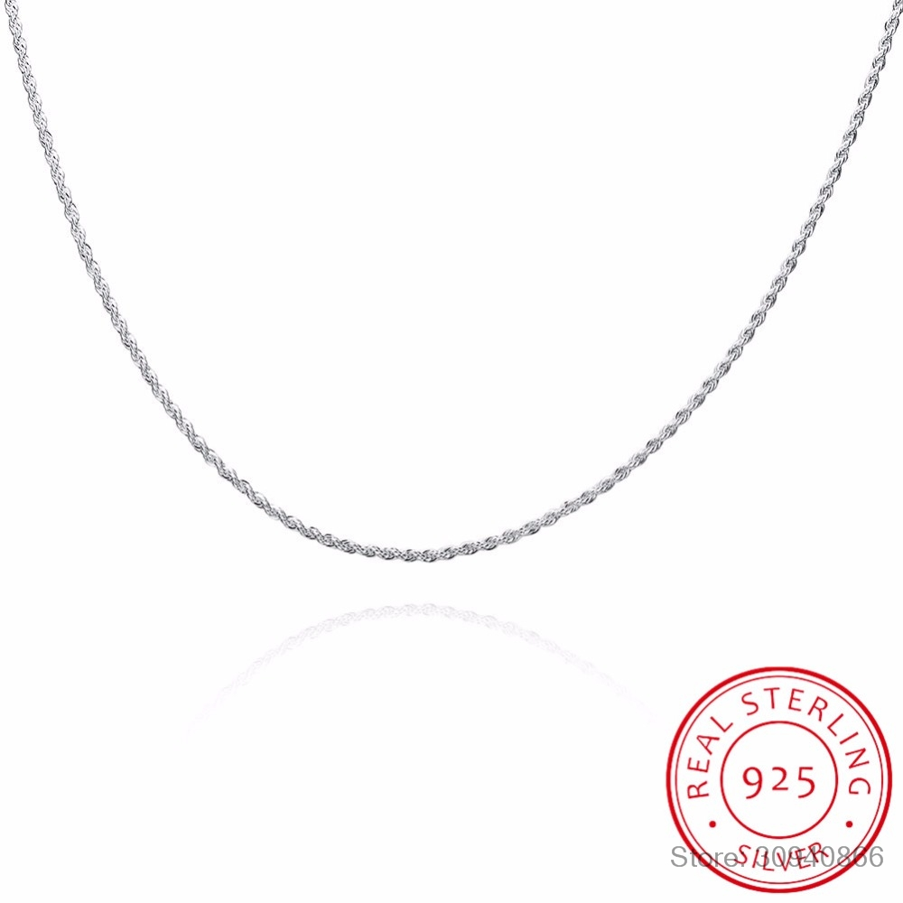 LEKANI 2mm Rope Chain For Pendant Necklace Women And Men 925 Sterling Silver Fine Jewelry 40-60CM Twisted Chain Necklace
