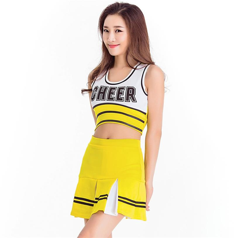 חדש עיצוב נשים סקסי מעודדות אחיד ביצועים Apparels בר להראות Rooters צהוב בנות ספורט ריקוד בגדי המפלגה S-XL