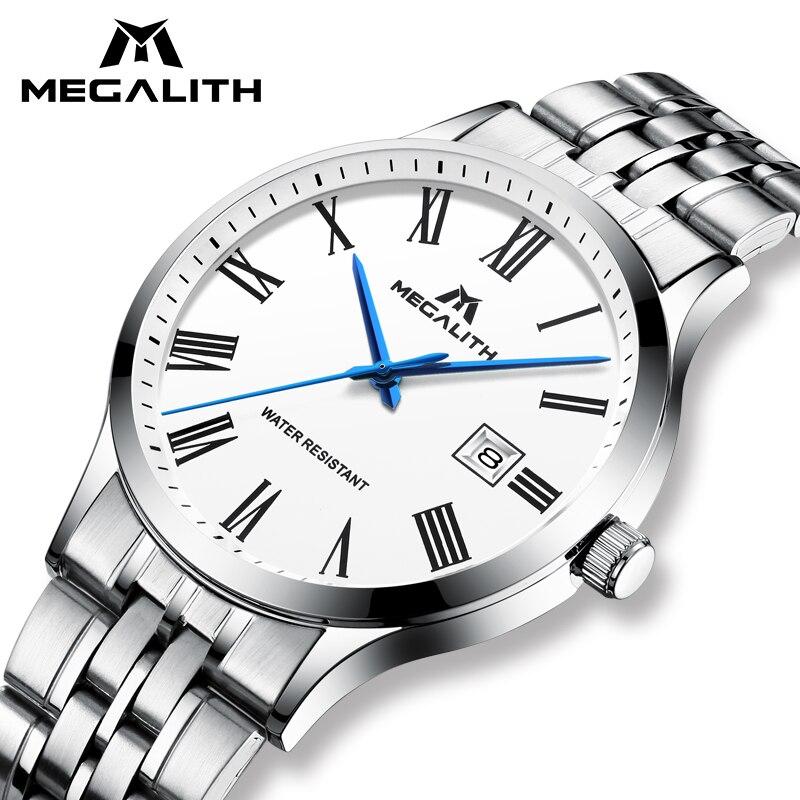 Hommes Montre MÉGALITHE Top Marque-Bracelet À Quartz Montres Avec Étanche Date Analogique En Acier Inoxydable Montres Hommes Horloge Reloj Hombre