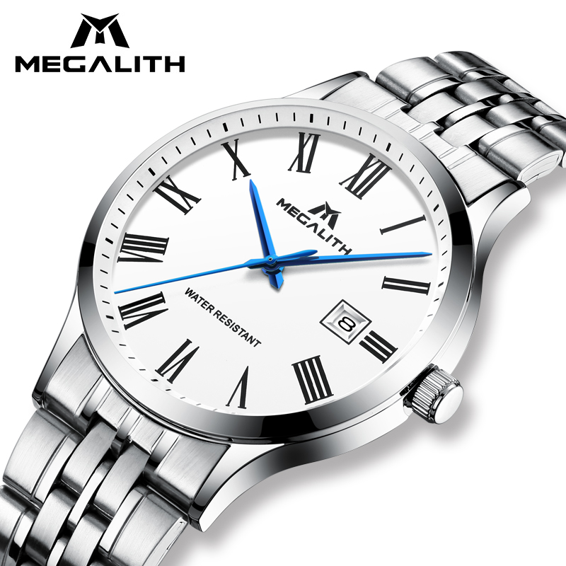 Men Watch MEGALITH Top Brand Quartz Wrist Watches With Waterproof Date Analogue Stainless Steel Watches Mens Clock Reloj Hombre цена