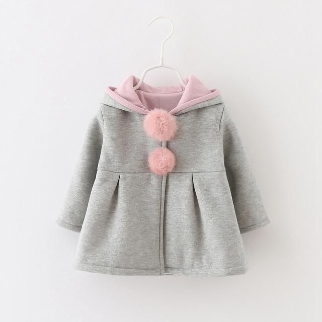 Sping Outono Inverno Do Bebê Meninas Crianças Crianças Bola Coelho Bonito Com Capuz Princesa Presentes Roupas Casaco Jaqueta Casacos Outwears S3989
