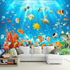 Custom Photo Mural Non-woven Embossed Wallpaper Underwater World Fish Coral Children Room Living Room Wall Decoration Wallpaper