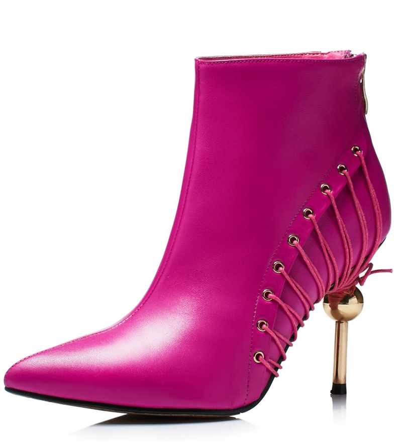 Sexy Women Boots Solid Full Grain Leather Zip High heels Boots Lady Pointed toe Ankle Boots Martin Boot yellow Rose Black