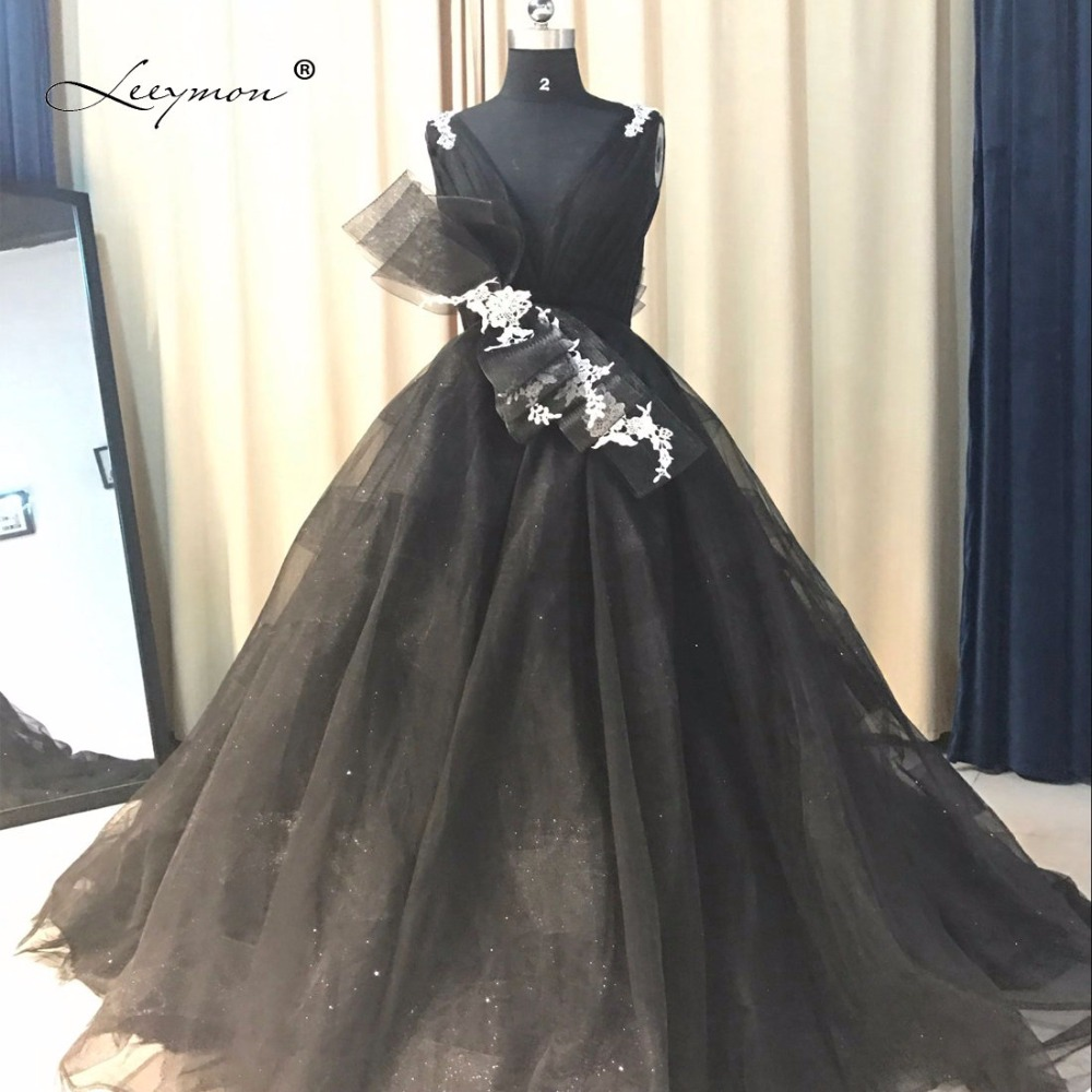 Leeymon Sexy New Fahion Black Backless   Prom     Dress   V Neck Sexy   Prom   Gown Tulle Party Formal   Dress   QQ23