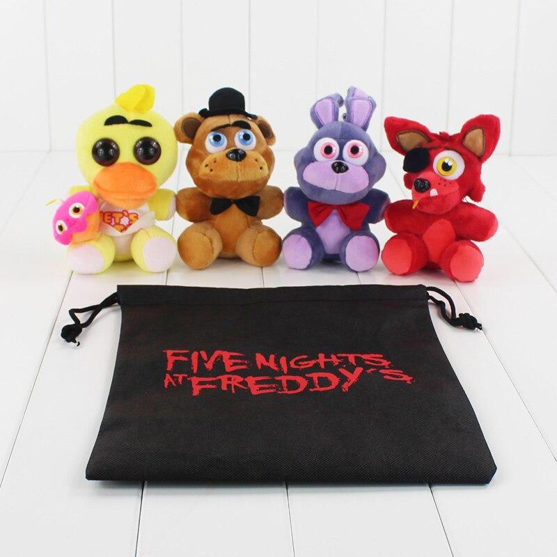 4 стиля «Five nights at Freddys» плюшевые Игрушечные лошадки FNAF Чика Бонни Фредди Фокси детская Куклы с мешком подарков 14 см ...