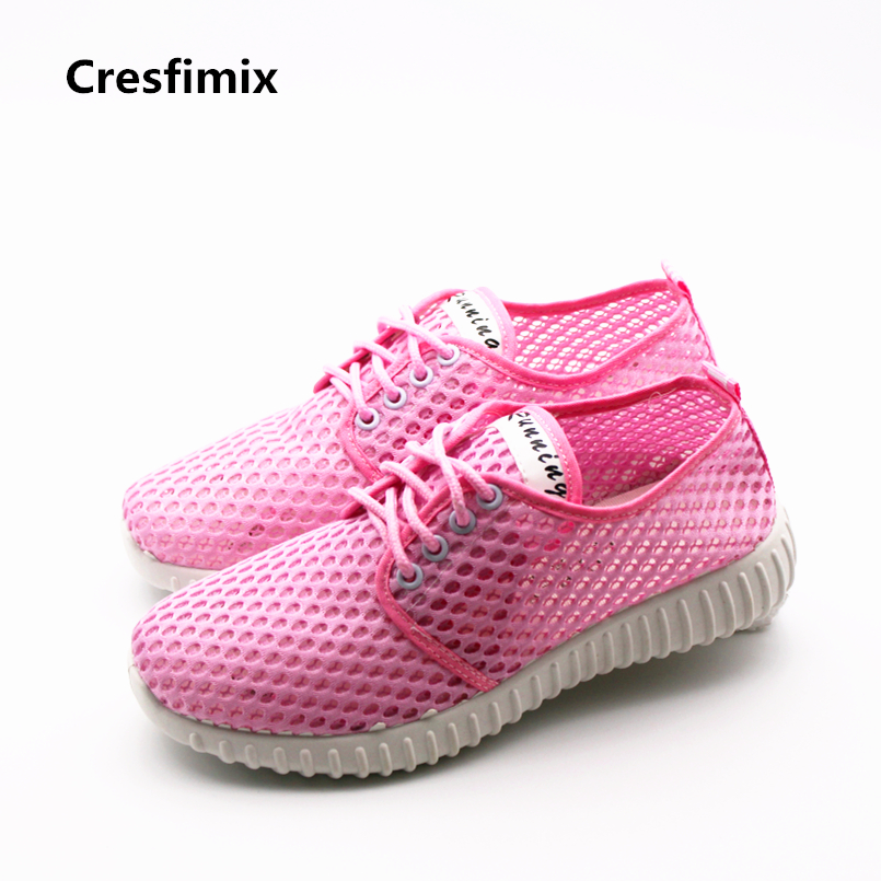 Cresfimix women fashion air mesh breathable pink shoes lady cute plus size flat shoes female leisure comfortable soft shoes instantarts fashion women flats cute cartoon dental equipment pattern pink sneakers woman breathable comfortable mesh flat shoes