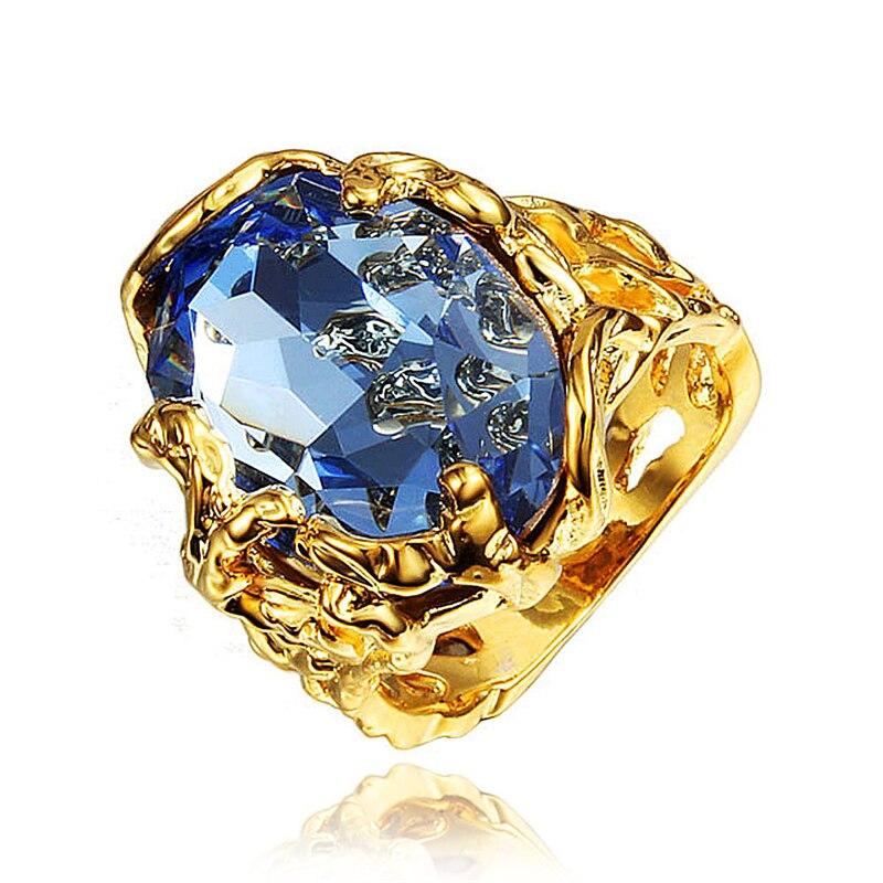 Nouveautés grand Anneaux cz bleu parti Anneau anneaux de mariage bijoux de mode Européen et Américain style de baisse livraison gratuite