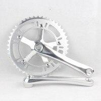 Ciclismo engrenagem fixa tira de corrente roda 46 t pista pedaleira ciclismo dobrável peças da bicicleta cnc 170mm manivela conjunto peças da bicicleta|46t crankset|crankset track|crank set -