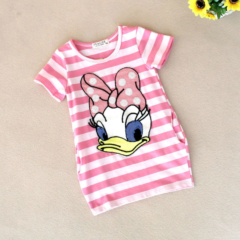 Malayu-Baby-2016-latest-summer-girls-striped-dress-children-cartoon-Donald-Duck-the-two-sides-in-my-pocket-dress-2-7-years-A122-3