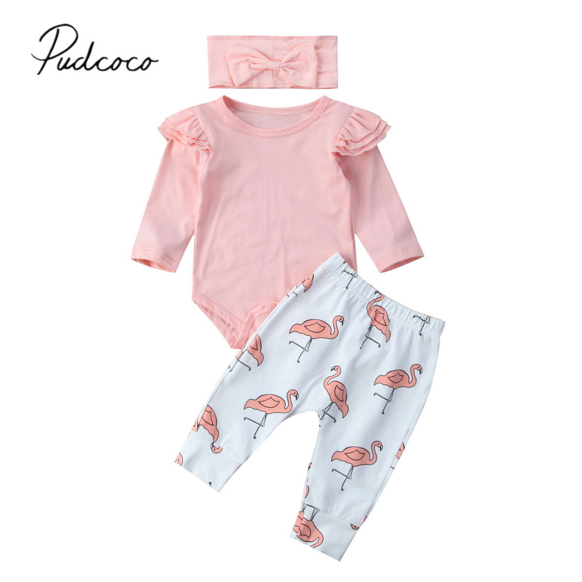 2017 Brand New Infant Toddler Newborn Baby Girls Romper Long Sleeve Tops Flamingo Pants Headband 3PCS Clothes Set Outfits 0-18M us stock floral newborn baby girls lace romper pants headband outfit set clothes infant toddler girl brief clothing set playsuit